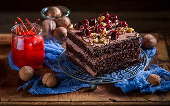 Wallpaper One piece of chocolate cake, cherry, nut