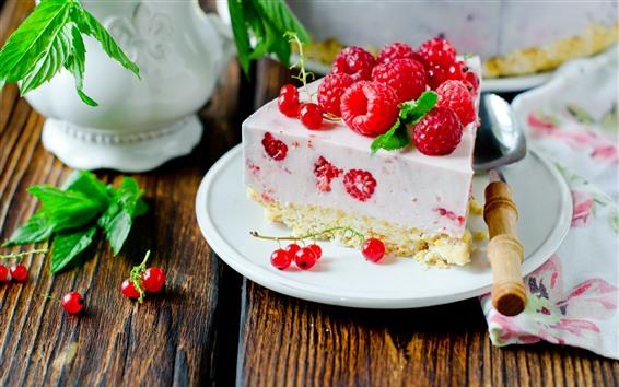 Papéis de Parede Uma fatia de bolo, framboesa, sobremesa, colher