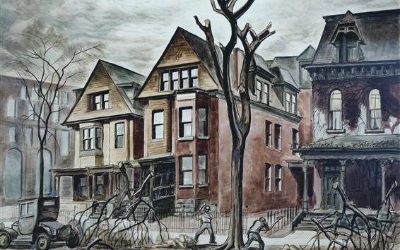 Fond d'écran Peinture, ville, maisons, arbre, photo d'art