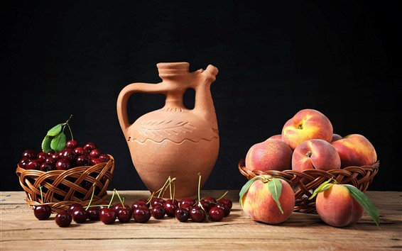 Wallpaper Peach, cherries, fruit, kettle