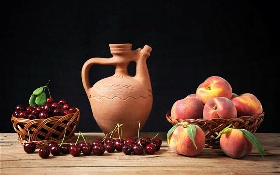 Hintergrundbilder Pfirsich, Kirschen, Obst, Wasserkocher