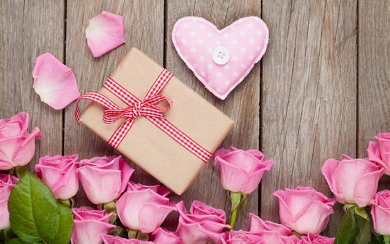 Wallpaper Pink roses, gift, love heart, romantic
