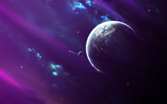 Wallpaper Planets, space, purple style