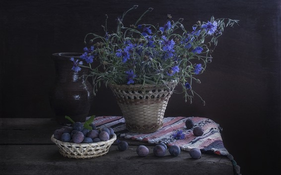 Wallpaper Plums and blue cornflowers, darkness