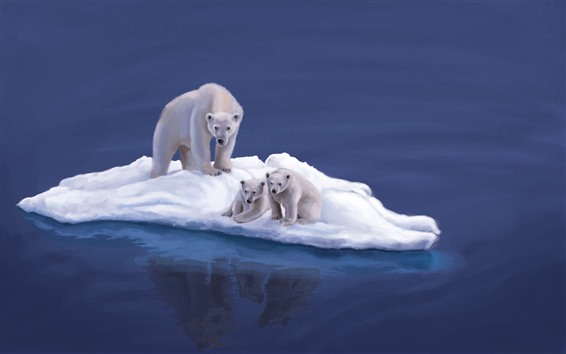 Wallpaper Polar bears, snow island, art picture