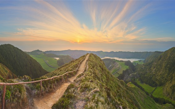 Wallpaper Portugal, Azores, trail, fence, mountains, sunset