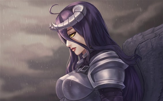 Fond d'écran Fille de fantaisie de cheveux violet, armure, pluie