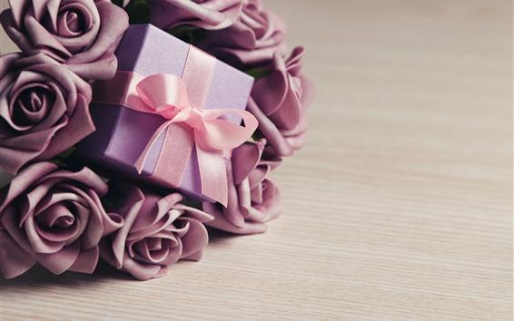 Papéis de Parede Flores rosas roxas, presente, fita