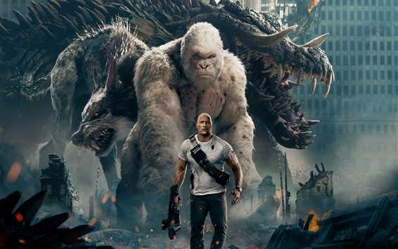 Wallpaper Rampage, Dwayne Johnson, monster, wolf, orangutan