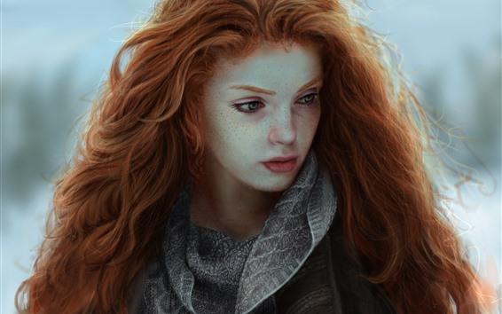 Wallpaper Red hair fantasy girl, freckles