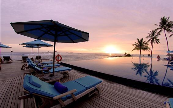 Wallpaper Resort, sea, palm trees, pool, lounge chair, sunset