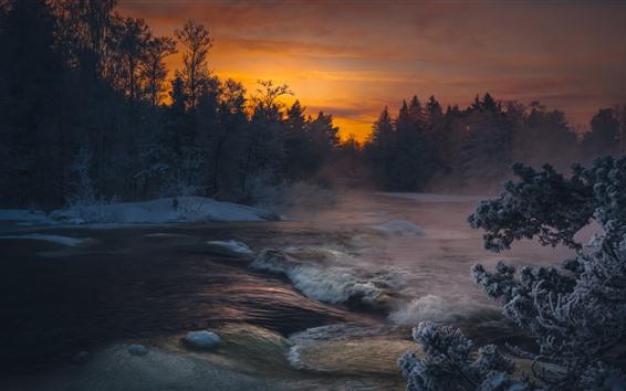 壁紙 川、木、雪、夕焼け、冬