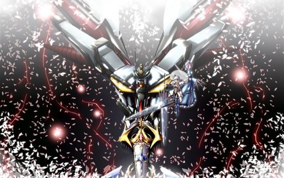 Fond d'écran Robot, filles, pétales, épée, anime