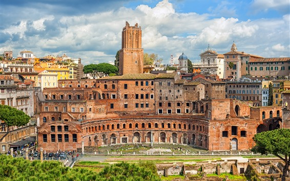 Fond d'écran Rome, Italie, marché, ville, bâtiments