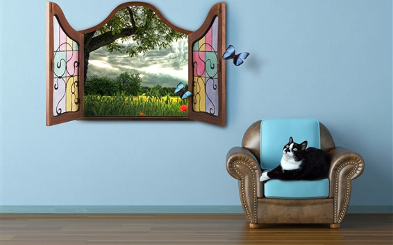 Wallpaper Room, cat, chair, window, butterfly, creative picture