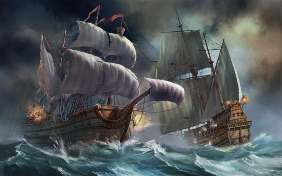 Wallpaper Sailboats, sea, waves, battle, art picture