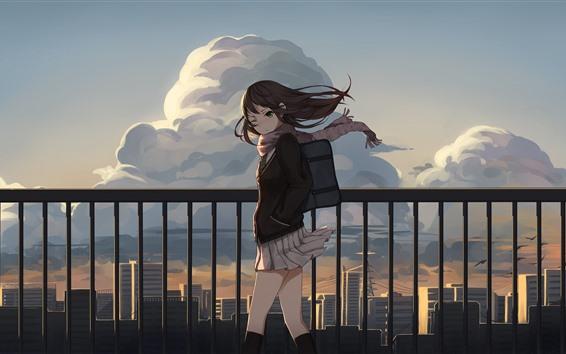 Wallpaper Schoolgirl, wind, fence, anime