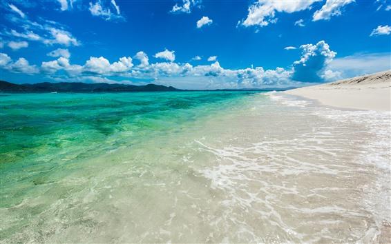 Papéis de Parede Mar, praia, areias, água, céu azul, nuvens