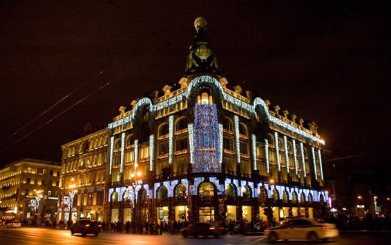 Papéis de Parede Singer House, St. Petersburg, iluminação, noite da cidade, Rússia