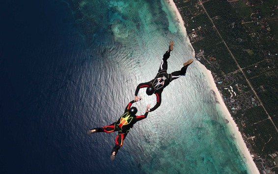 Wallpaper Skydivers, parachuting, sea, city, extreme sport