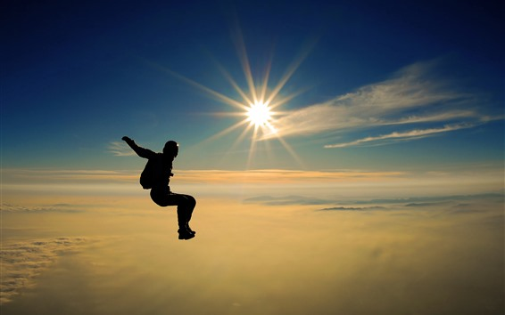 Wallpaper Skydiving, person, sunrays, sky, clouds