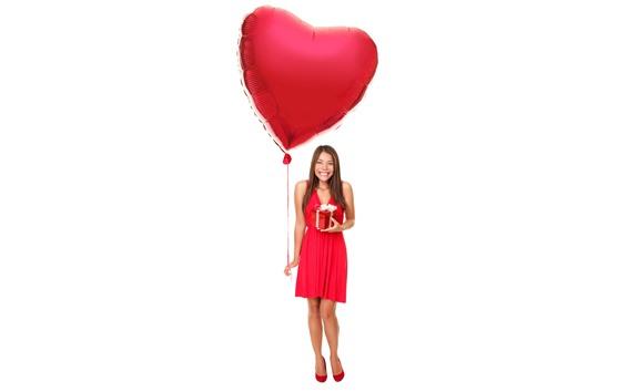 Wallpaper Smile girl, red skirt, gift, love heart balloon, white background