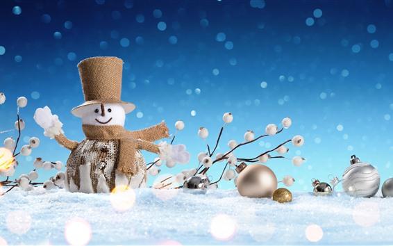 Wallpaper Snowman toy, snow, Christmas decoration