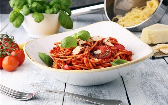 배경 화면 스파게티, 토마토, 음식, 포크