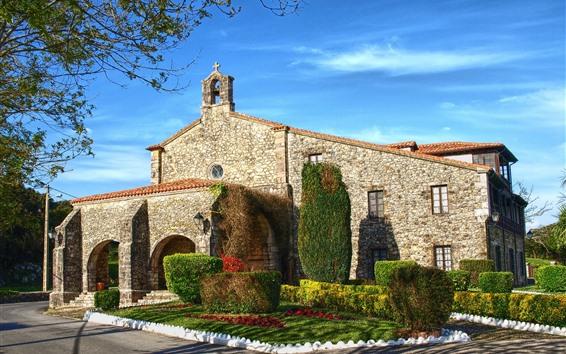 배경 화면 스페인, 칸타 브리아, 성당