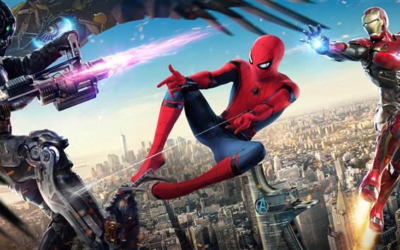 Wallpaper Spider-Man: Homecoming, Iron Man, Marvel superheroes
