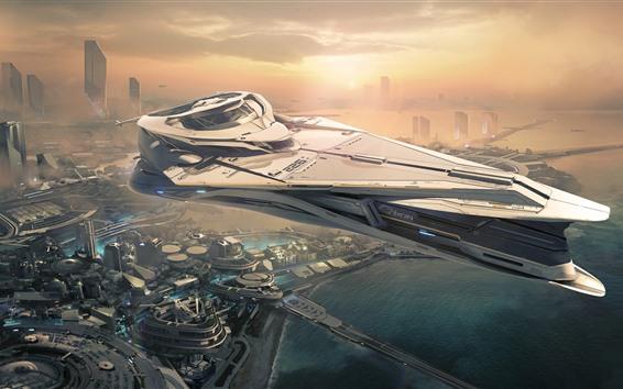 Fondos de pantalla Ciudadana estrella, ciudad futura, nave espacial.