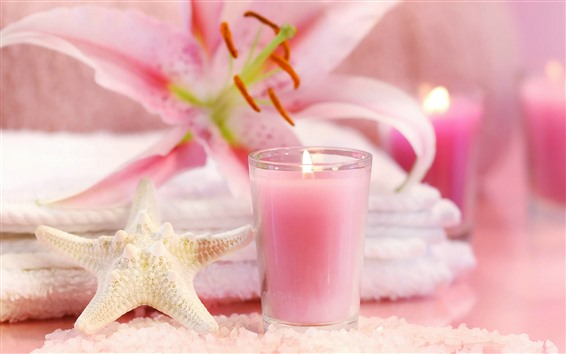 Wallpaper Starfish, candle, pink lily, SPA theme