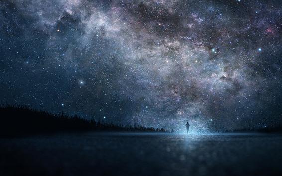 Wallpaper Starry, night, sky, people