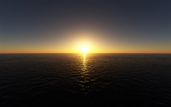 Wallpaper Sunrise, sea, horizon