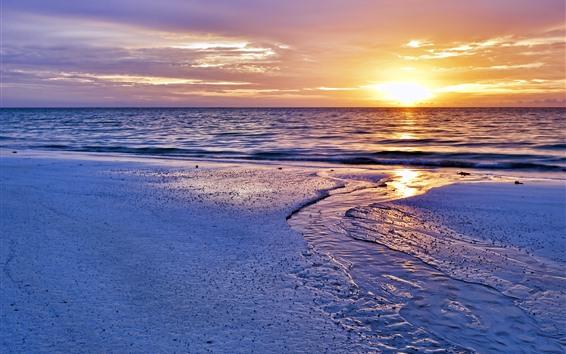 Wallpaper Sunset, beach, water, sky, sea