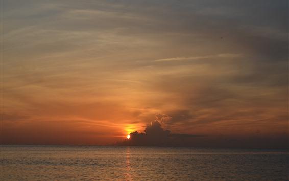 Papéis de Parede Por do sol, nuvens, céu, mar, Crepúsculo, paisagem da natureza