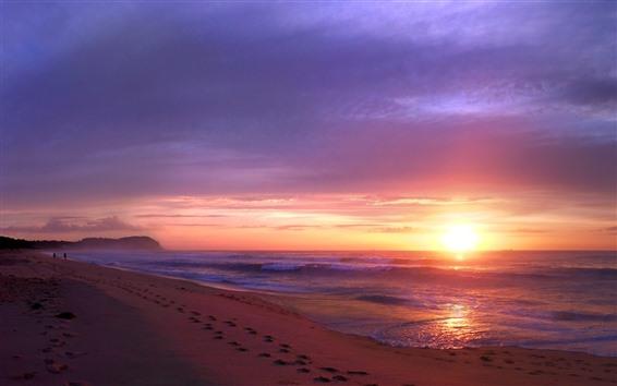 Hintergrundbilder Sonnenuntergang, Meer, Wellen, Strand, Naturlandschaft