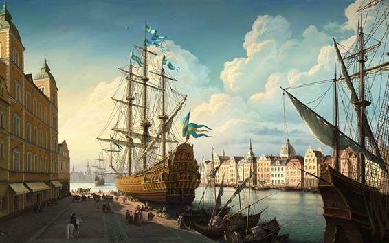 배경 화면 스웨덴, 스톡홀름, 선박, 도시, 강, 예술 회화