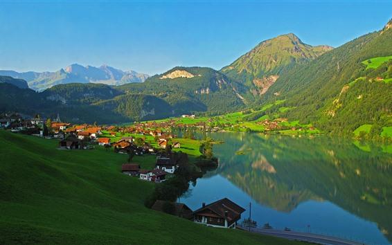 Обои Швейцария, горы, озеро, деревня