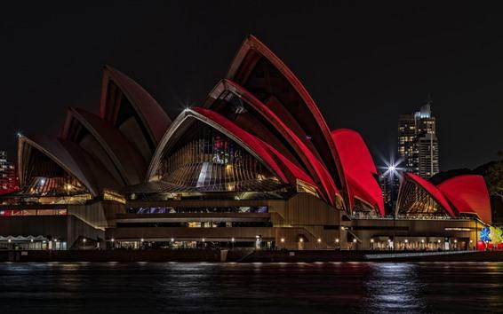 Papéis de Parede Sydney Opera House, Austrália, noite, luzes, mar