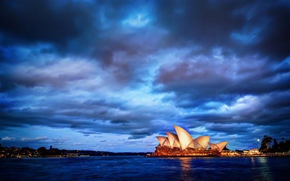 Обои Сидней, город, ночь, бухта, облака, Австралия