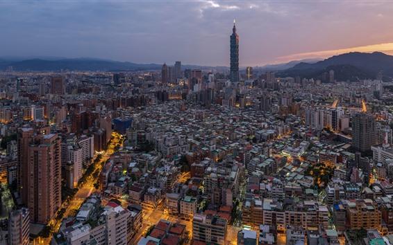 배경 화면 대만, 도시, 고층 빌딩, 황혼, 조명, 타이페이 101