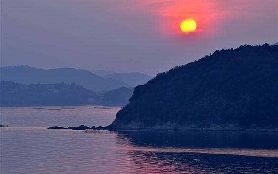 Wallpaper Tatsuno, Japan, river, mountains, sunset