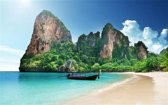 Обои Таиланд, пляж, лодка, море, горы, тропический