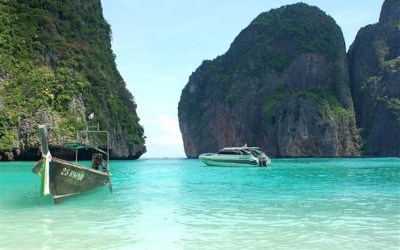 Обои Таиланд, море, лодки, остров