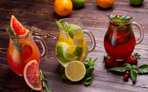 Papéis de Parede Três tipos de suco de frutas, grapefruit, limão, morango, chaleira de vidro