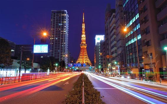 배경 화면 도쿄 타워, 일본, 밤,도로, 조명