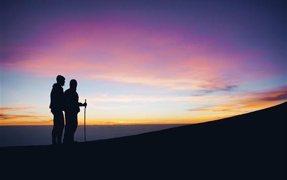 Papéis de Parede Turismo, pessoa, silhuetas, céu, por do sol