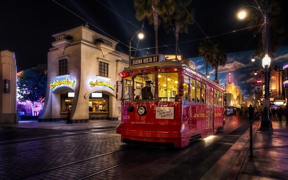 Wallpaper Tram, night, city street, lights
