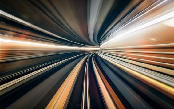Papéis de Parede Túnel, linhas de luz, velocidade